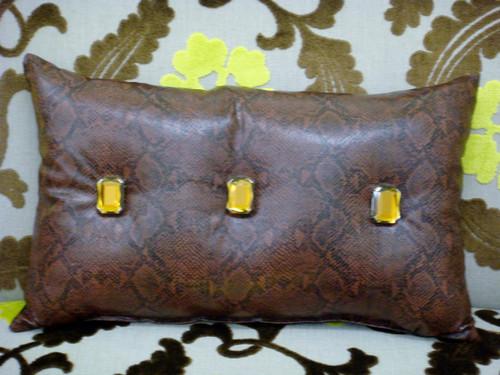Snakeskin Bling Throw Pillow, Brown 22 x 15