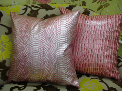 Luxury Throw Pillow, Snake Faux Leather, Pink & Silver 20X20