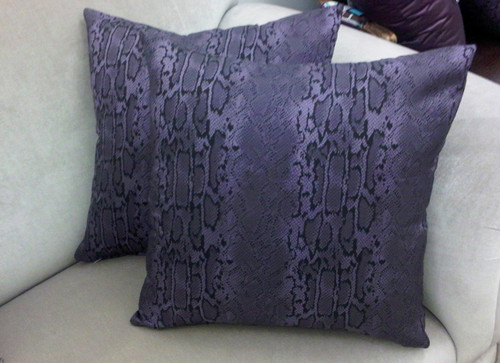 Snakeskin Pillow Cover 19 X 19, Black and Mauve READY TO SHIP