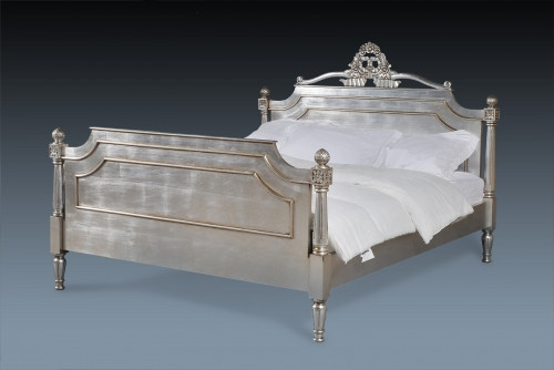 Silver French Platform Bed, Chanel Panel Bed