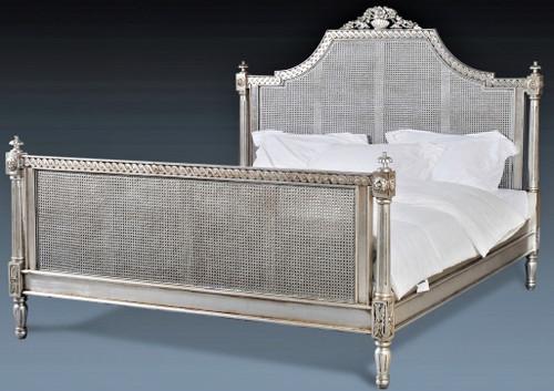Josephine Rattan Bed, Silver finish