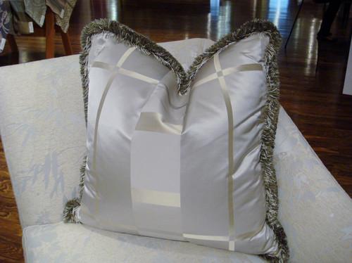 Luxury Throw Pillow, Silk Plaid & Trim