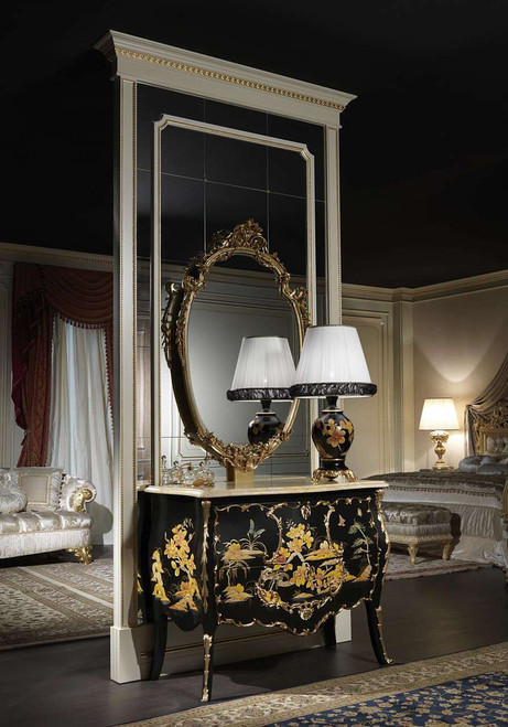 Luxury lacquered chest of drawers, Chinese Style with mirror