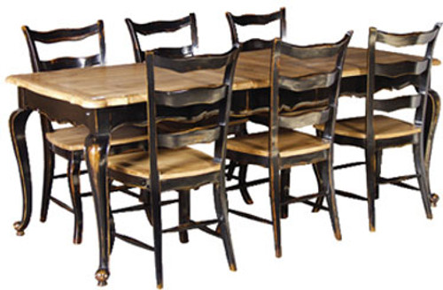 French Oak Dining Table Set (1 Table 6 Chairs)