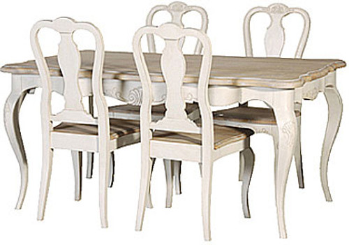 French Oak Dining Table Set (1 Table 4 Chairs), Stone & Natural Oak French Style