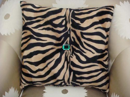 Zebra Print Bling Throw Pillow ....Color Beige/Black 20X20