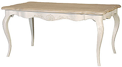 French Country Carved Dining Table, Stone & Natural Oak French Style