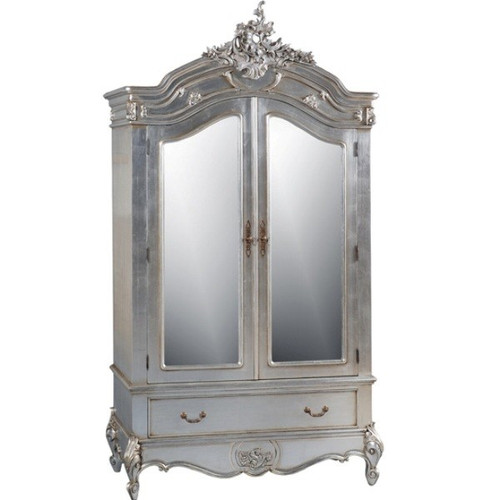 French Carved Armoire, Color Silver