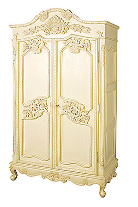 French Chateau Carved Armoire With 6 Drawers, shown in Chateau Cream