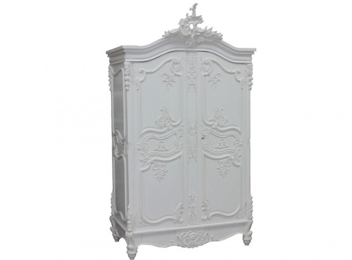 Provincial Carved Armoire, French Chateau White