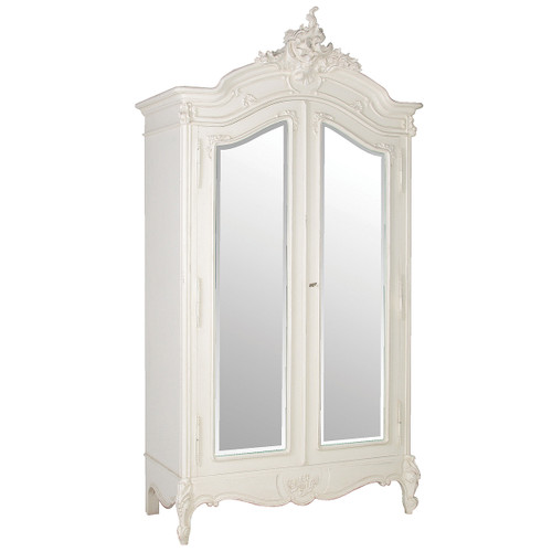 Provencial Armoire Double Mirror Door, Color Distressed White