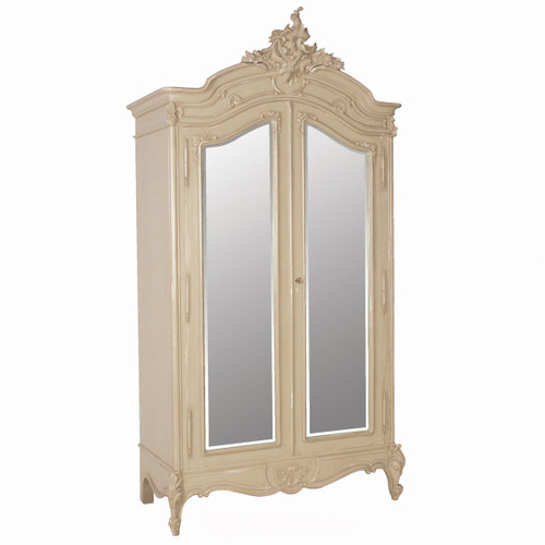 Provencial Armoire Double Mirror Door, Color Pale Stone