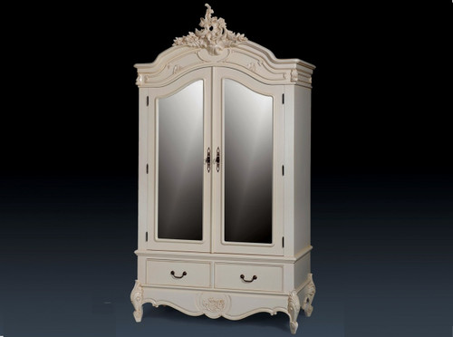 French Carved Armoire,Color Ivory