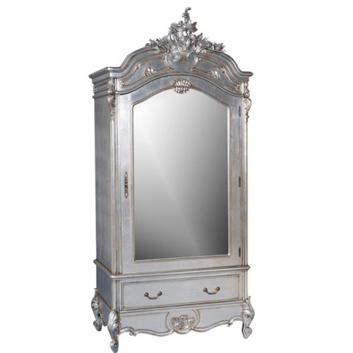 French Style Carved Armoire, Single Door & Single Drawer, Silver Leaf