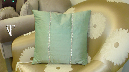 Chelsea Throw pillow Cover, Aqua Silk
