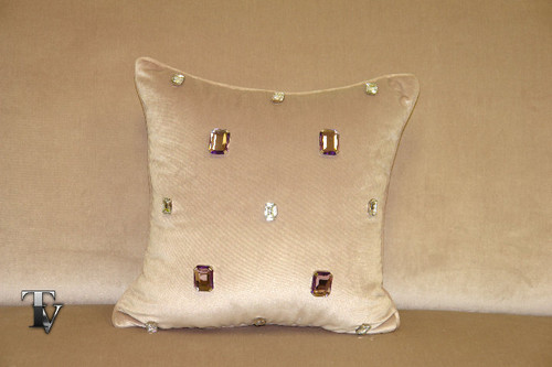 Milan Throw Pillow...Light Mauve Velvet 18 x 18