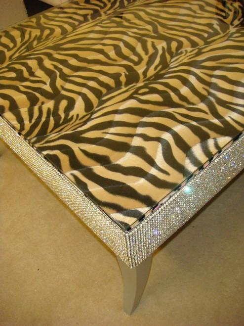Belgravia Coffee Table,Zebra Print Faux Fur