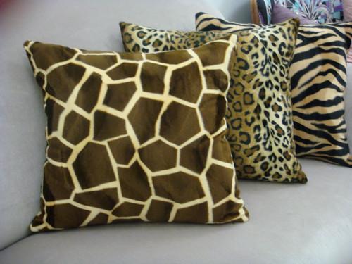 Giraffe Throw Pillow, Brown & Gold