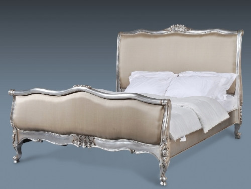 Silvia French Upholstered Bed, Silver Leaf