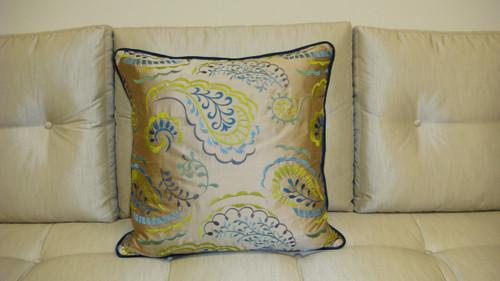 Paisley Throw Pillow, Taupe/Silver Multi 24 x 24