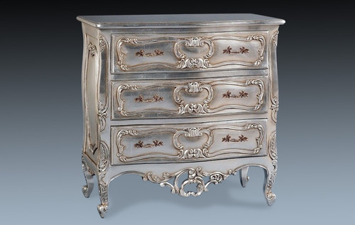 Chest of Drawers, Baroque Style, Silver Leaf