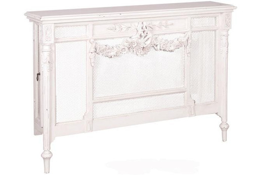 Radiator Cover, Distressed White, French Country Furniture