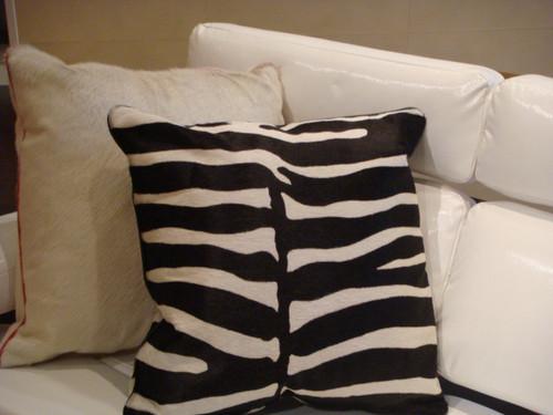 Leather Throw Pillow, Zebra Print,Color Black & White 22 x 22