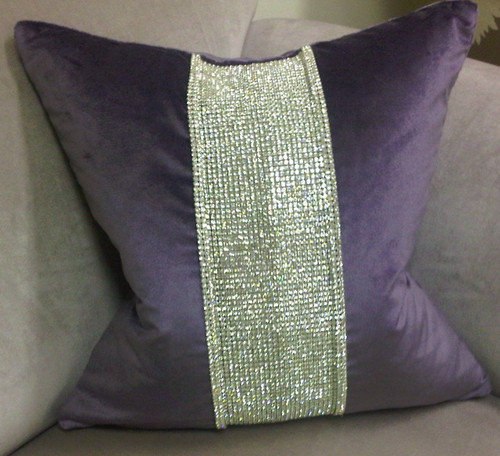 Luxury Throw Pillow,  Belgravia Diamante Velvet Bling