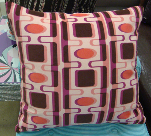 Couture Throw Pillow Cover, Pucci Style Print, Pink & Brown