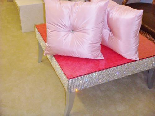 Belgravia Coffee Table, Crock Faux Leather, Fuschia Pink