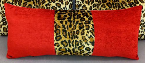 Animal Print Throw Pillow, Leopard & Red Velvet