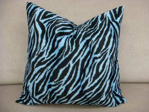 Zebra Print Throw Pillow, Blue & Black Multi