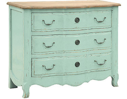 Turquoise Chest of Drawers, French Country Furniture 3 drawer