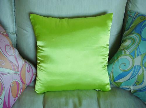 Glam Satin Throw Pillow shown in Kiwi