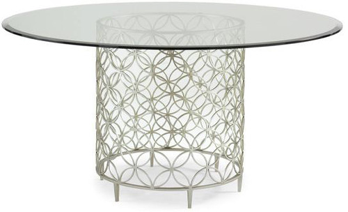 """Round Dining Table with metal base & 60"""" diameter beleved glass top"""
