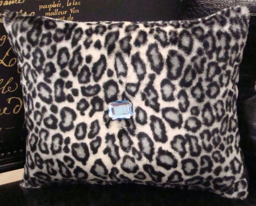 Snow Leopard Bling Throw Pillow, Black & White 15 x 12 with Blue faux crystal
