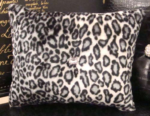 Snow Leopard Bling Throw Pillow, Black & White 15 x 12 with a pink faux crystal