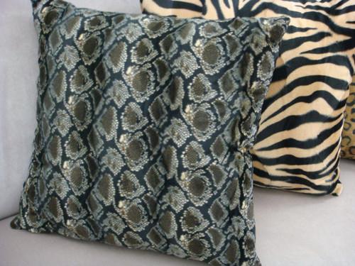 Python Throw Pillow Cover, Faux Fur Color Brown/Grey/Black