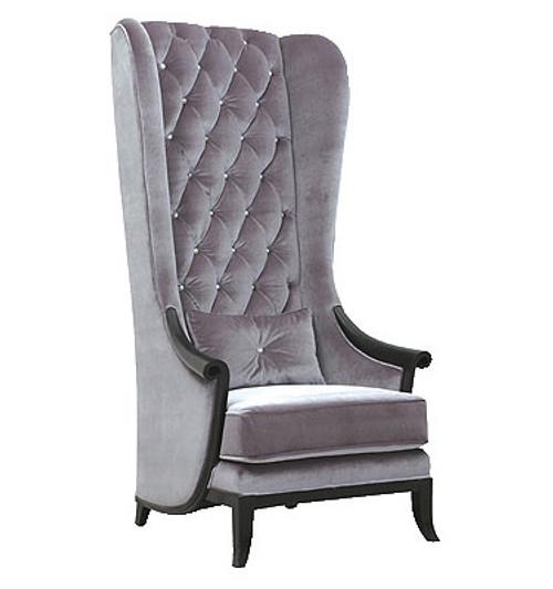 Modern Wing Chair, Velvet Highback Chair shown in Grey Velvet