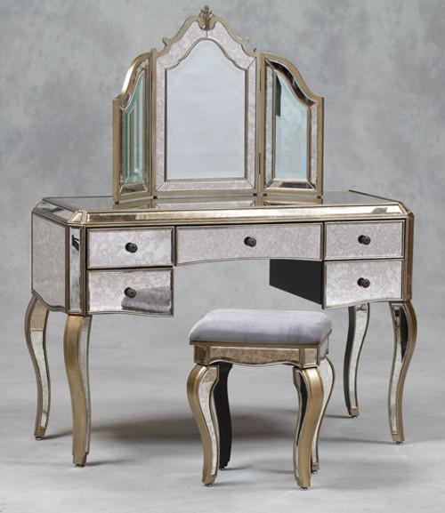 Mirrored Dressing Table Mirror Stool Set , Antique Venetian Style