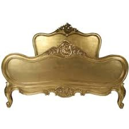 Provincial Luxury Carved Bed, Gold