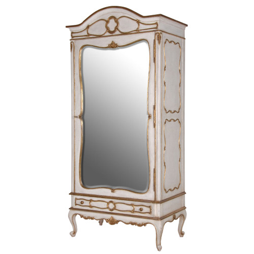 Marie Antoinette Mirrored Armoire, Antique White & Gold
