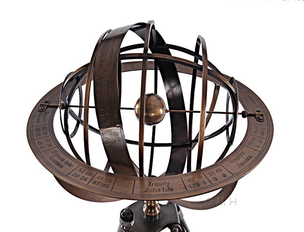 Brass Armillary with Wooden Stand