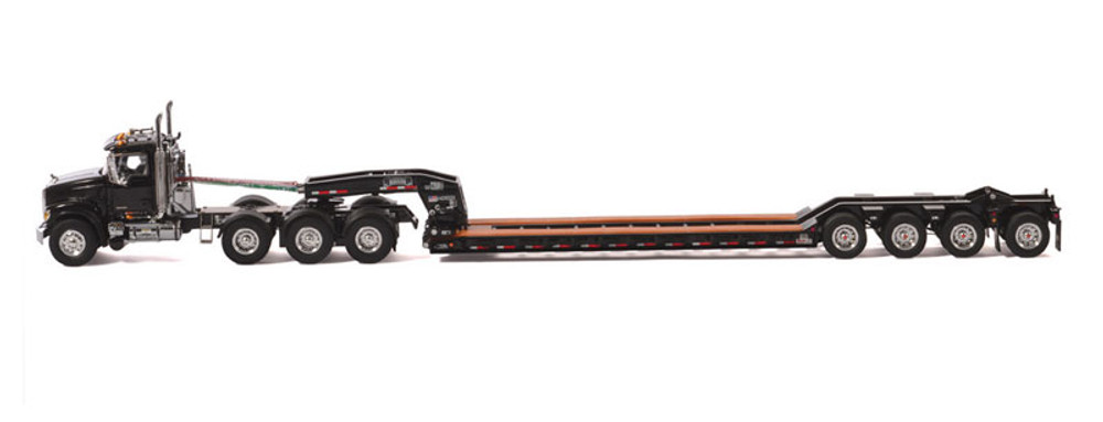Mack Granite 8x4 Day Cab w/Rogers 4-Axle Flip Lowboy Trailer Black