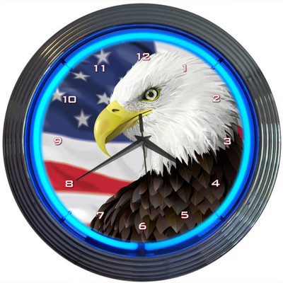 Eagle USA Flag Neon Clock