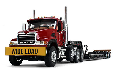 Mack Granite in Cherry Red with Tri-Axle Lowboy Trailer