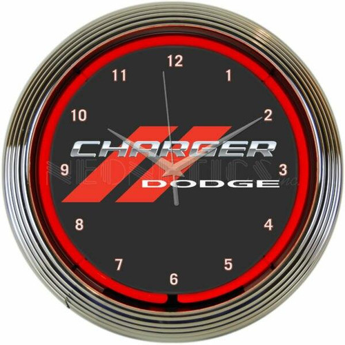 Neonetics Dodge Charger Red Neon Clock
