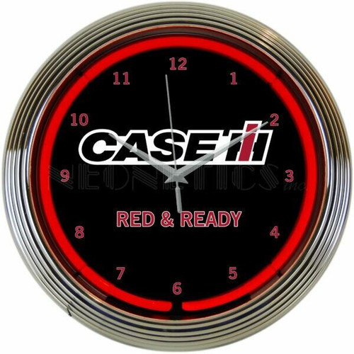Neonetics Case IH Red and Ready Neon Wall Clock