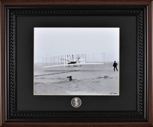 Wright Brothers Framed Photographic Print with Coin
