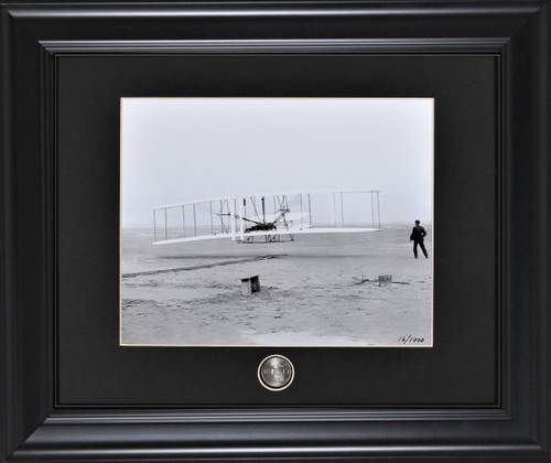 Wright Brothers Framed Photographic Print with Coin Black frame